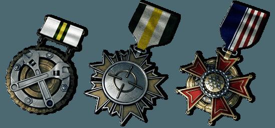 Von links nach rechts: Maintenance Medal (erhalten den Maintenance Ribbon 50 mal), Marksman Medal (erhalten den Marksman Ribbon 50 mal), and the U.S. Army Service Medal (spiele 100 Stunden als U.S. Army)