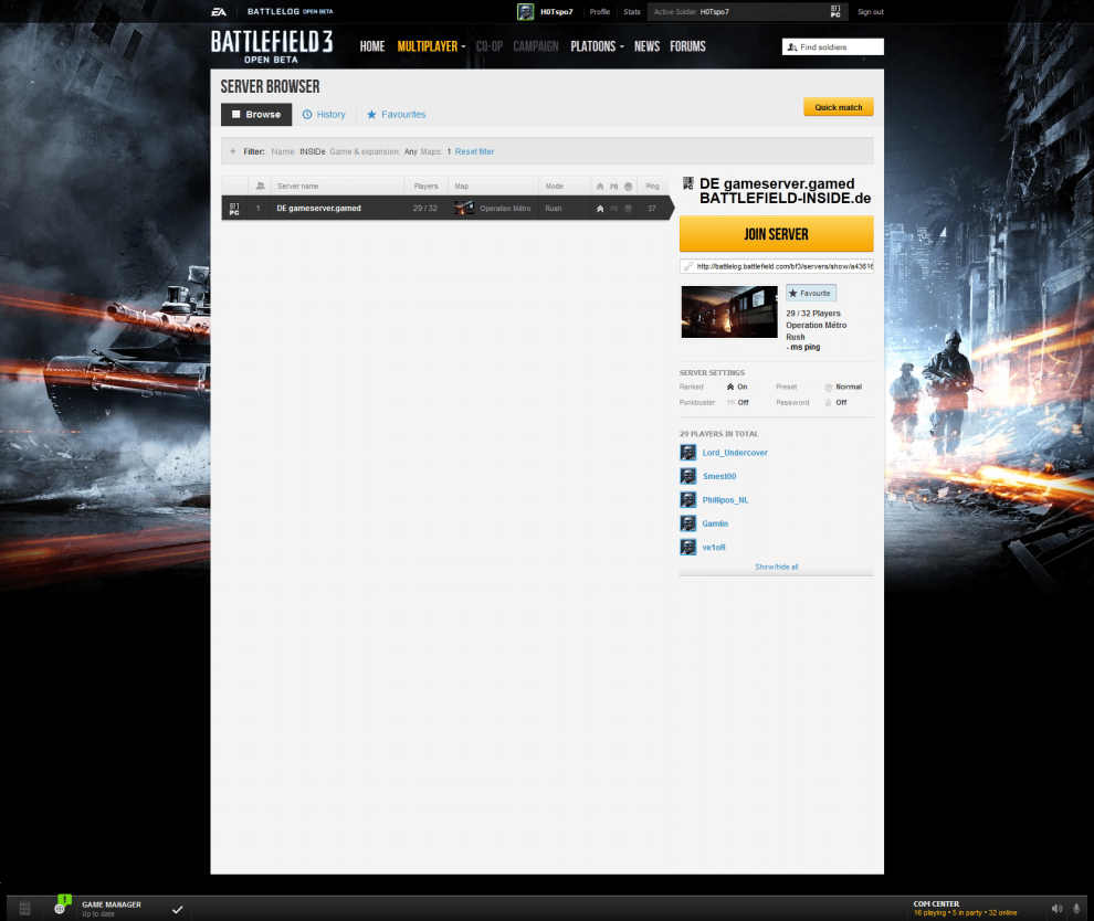 Unser Battlefield 3 Beta Gameserver von gamed!de