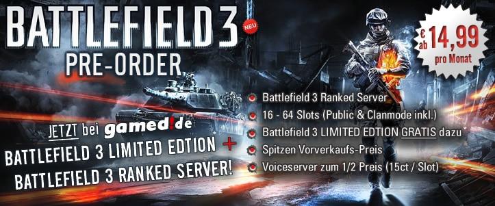 Battlefield 3 Gameserver bei gamed!de vorbestellen und Battlefield 3 gratis mit dazu erhalten