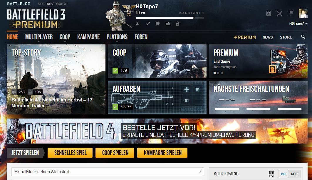 Werbebanner auf Battlelog-Plattform wirbt für Vorbestellungen inkl. einem Battleifeld 4 Premium Erweiterungspack