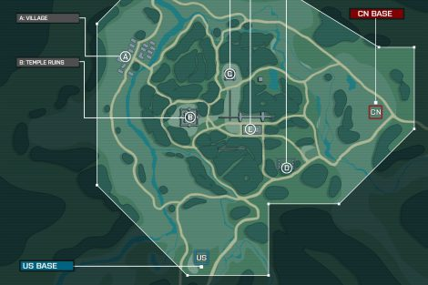Layout B: Dieses Konzept bietet wenig Wasser, eine weniger lineare Flaggenverteilung und Mainbases, die nahe beieinander liegen. Als wichtige Punkte dienen gleich zwei mal alte Tempelruinen, ein Dorf und zwei militärische Lager.