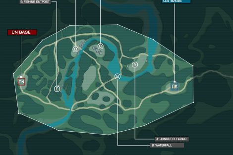 Layout A: Gefechte rund um einen Dschungelfluss in Burma. Als wichtige Punkte dienen ein Fischerhafen, ein Dorf, Tempelruinen, eine Lichtung und ein Wasserfall.