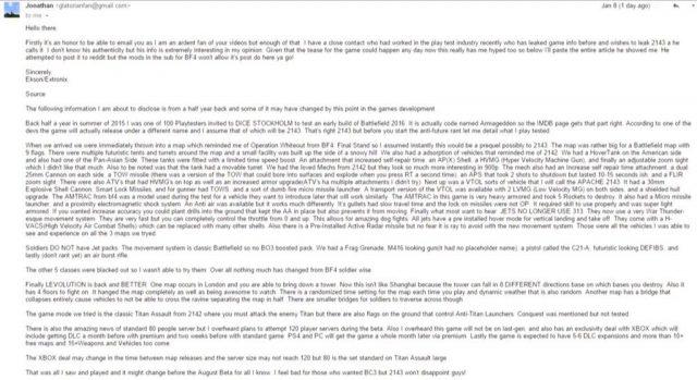 Bericht eines angeblichern Playtest von Battlefield 2143 im August 2015.