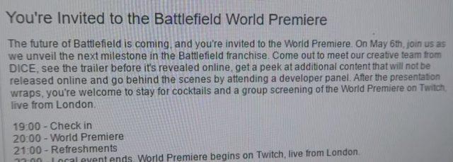 Der mittlere Teil der Einlandung zur Battlefield Weltpremiere.