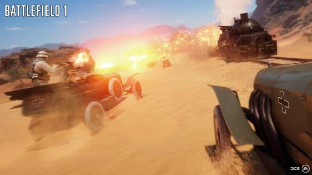 """Kampf rund um einen Panzerzug auf der Map """"Wüste Sinai"""""""