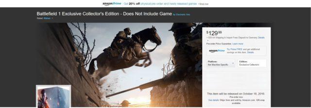 Abgespeckte Battlefield 1 Collector´s Edition aufgetaucht