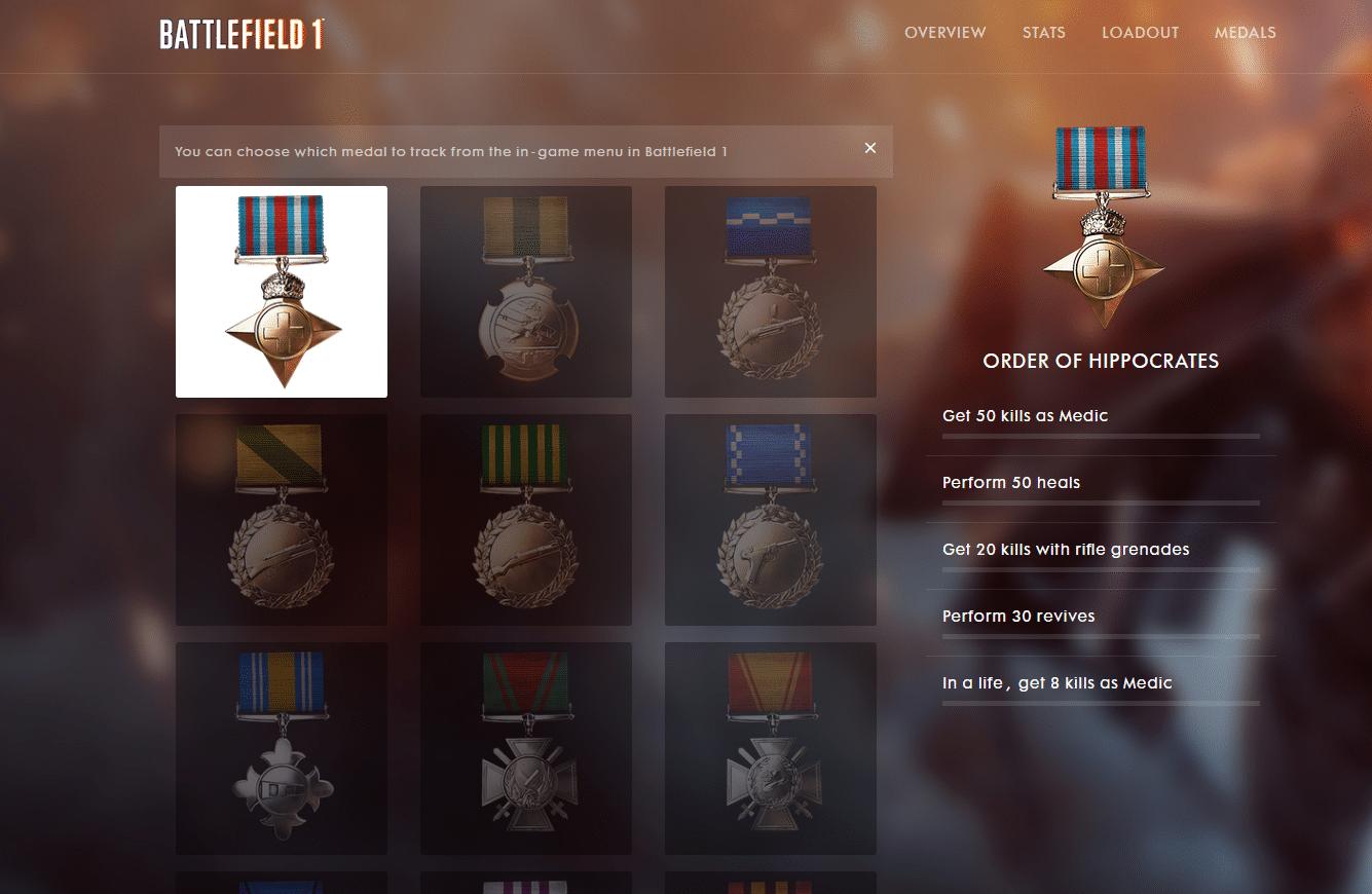 Battlefield 1 Beta Spielerprofil samt Stats, Auszeichnungen und