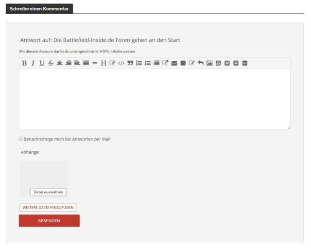 Der neue Forum und Kommentar Editor. Platz für Bilder, eigene Uploads, Videos und mehr.