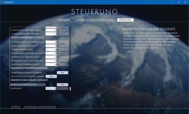 Battlefield 1 Steuerungseinstellungen (Erweitert)