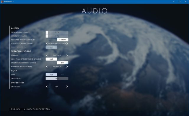 Battlefield 1 Audio Einstellungen