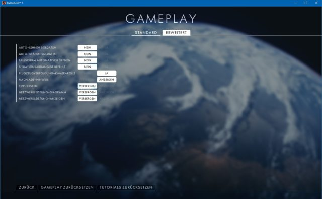 Battlefield 1 Gameplay Einstellungen (Erweitert)