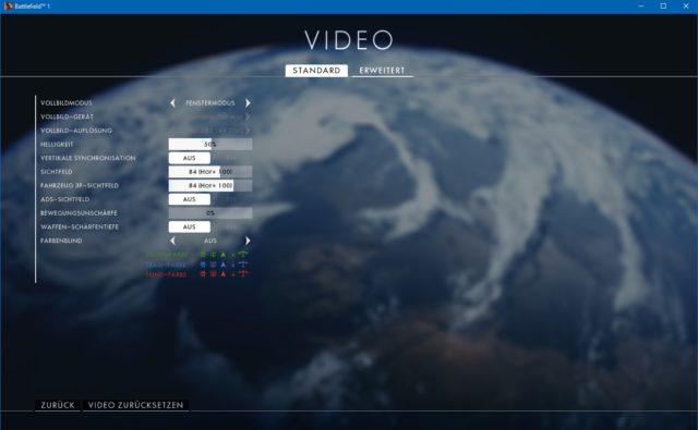 Battlefield 1 Video Einstellungen (Einfach)