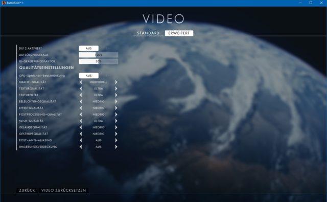 Battlefield 1 Video Einstellungen (Erweitert)