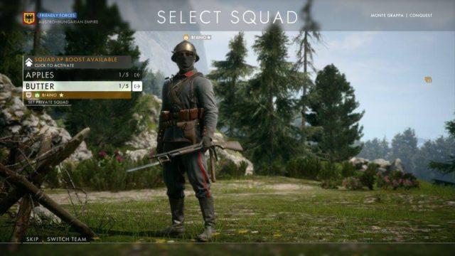 Squad Booster können im Squadmenü aktiviert werden.