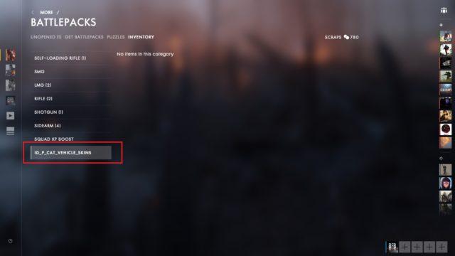 Bild gibt Hinweis auf Fahrzeugskins aus Battlefield 1 Battlepacks.