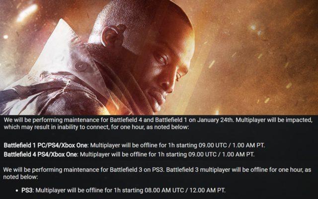 DICE hat kurzfristig umfangreiche Wartungsarbeiten an verschiedenen Battlefield Titeln angekündigt.