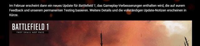 DICE kündigt erstes Update für Battlefield 1 im neuen Jahr an.