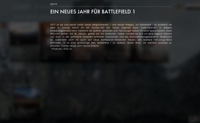 Neujahrsansprache an die Battlefield 1 Community