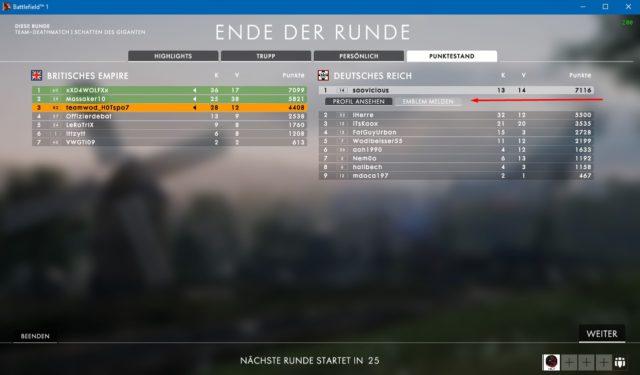 Spieler -/ Emblem melden in Battlefield 1