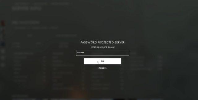 Battlefield 1 Passwortschutz für Gameserver wird getestet.