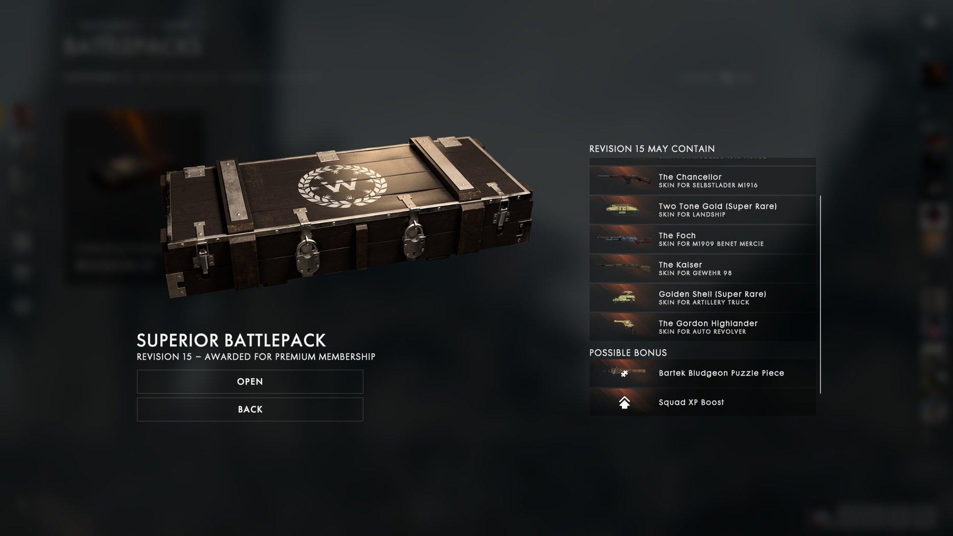 Battlefield 1 Premium Battlepack (Februar 2017)