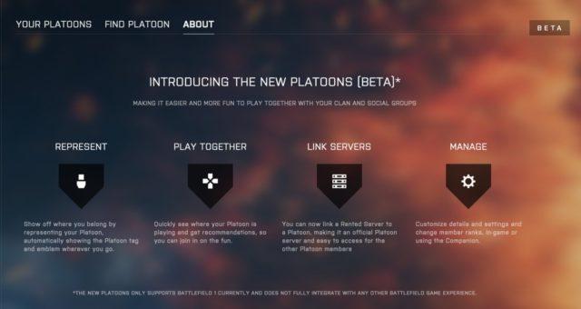 Platoon Menü im Battlefield 1 CTE