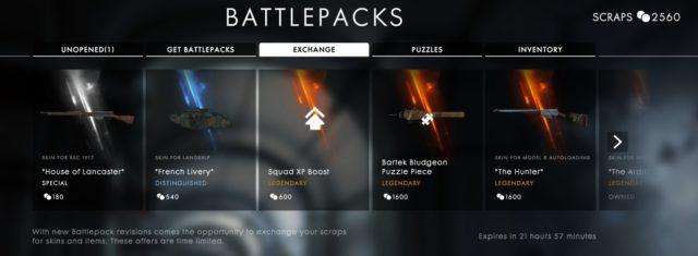 Skins aus der aktuellen Battlefield 1 Battlepack Revision können nun auch einzeln gekauft werden.