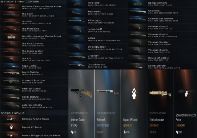 Battlefield 1 Battlepacks - Revision 31