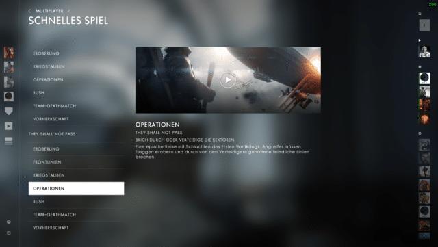 Das Battlefield 1 UI Update bringt unter anderem neuen Optionen für die Quickmatch Funktion