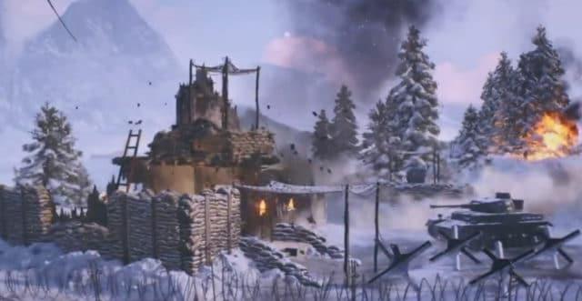 Battlefield V: Das Bild zeigt ein früher Version mit einer Sandsackbefestigung.