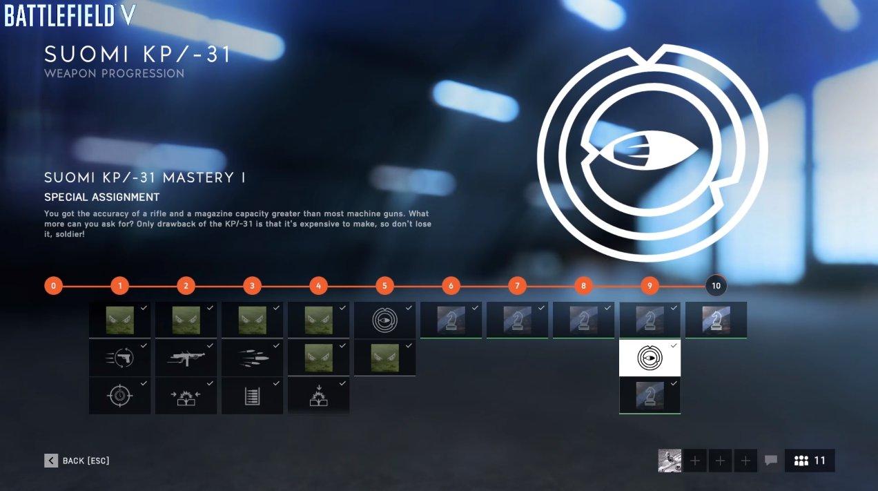 Battlefield V Weapon Progression