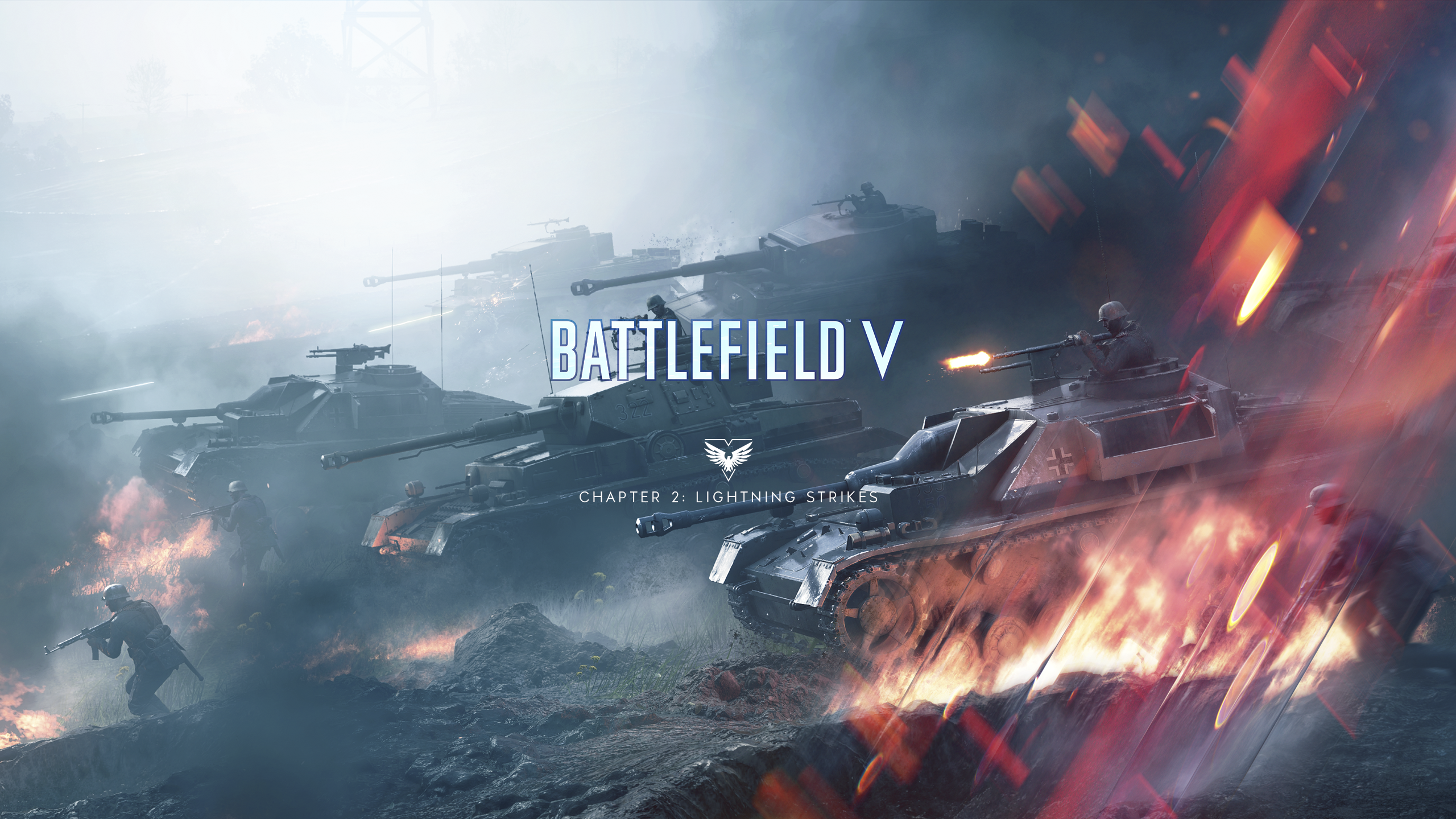 Battlefield V Tides of War Lightning Strikes Wallpaper with Logo