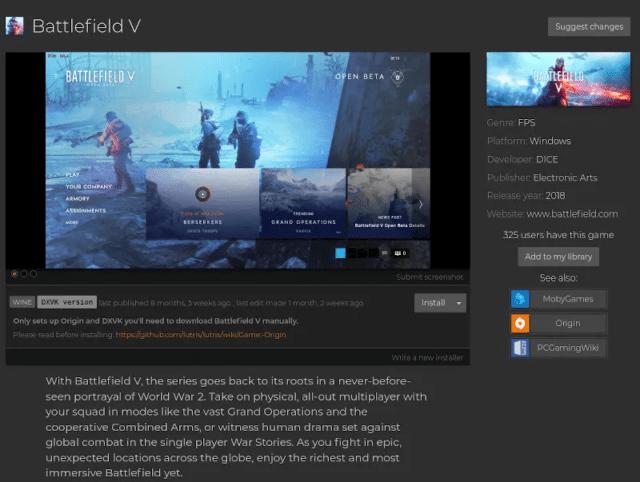 Battlefield V via Linux spielen, führt derzeit zu Bann