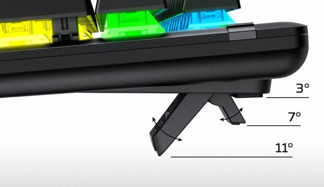 An der Hyperx Alloy Origins Gaming Tastatur könnt ihr den Neigungswinkel in 3-Stufen einstellen.