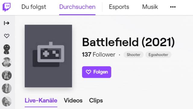 Twitch richtet Battlefield (2021) Kategorie ein